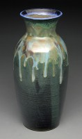 Teal Vase with Running Glaze